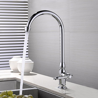 JOOE Single Cold Kitchen Faucet Chrome Brass Deck Mounted Water Tap Rotate Kitchen Sink Tap Torneira