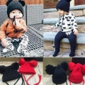 Lovely Knitted Baby Caps Boys Girls Toddler Crochet Beanie Hairball Whith Ear Baby Infant Hat Cute Children Kid Caps Black Red