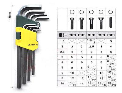 9pcs Set Metric Hex Key Allen Hexagon L-Wrench Long Chrome-vanadium Steel QC  цены
