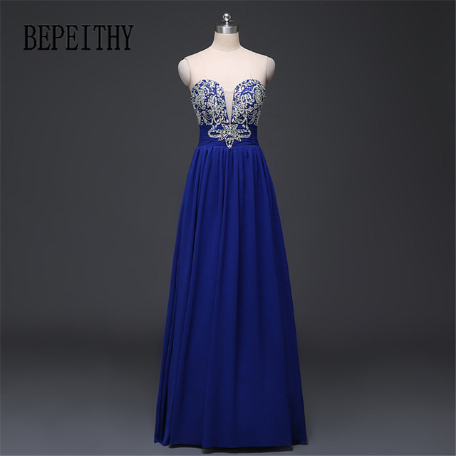 da621e8ab BEPEITHY Barato Longo Frisado do Querido Vestido de Noite Vestido de Festa  Azul Royal Chiffon Vestido