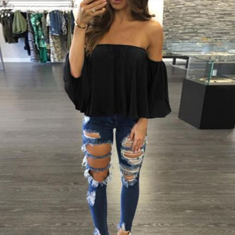 Fashion Women Blouse Off Shoulder Top Long Sleeve Pullover Casual Blouses Summer Shirts 2017 fashion new style (China)