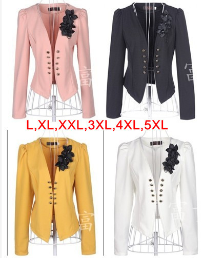 2017 Fashion New women blazers jackets business plus size short coat for woman White pink black
