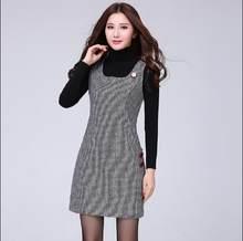 8fbae2e022fdf 2018 Yeni Moda Kadınlar Sonbahar Kış Kafes Yünlü Yelek Elbise Balıksırtı  Sundress Bin Kuşlar Büyük Boyutu Yetiştirmek Elbise RQ2.