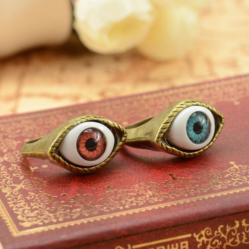 1PC Eye Vampire 1 Gothic Exaggerated Punk Jewelry Brown Fashion Chic Rings Blue Style Fashion Hot Gift