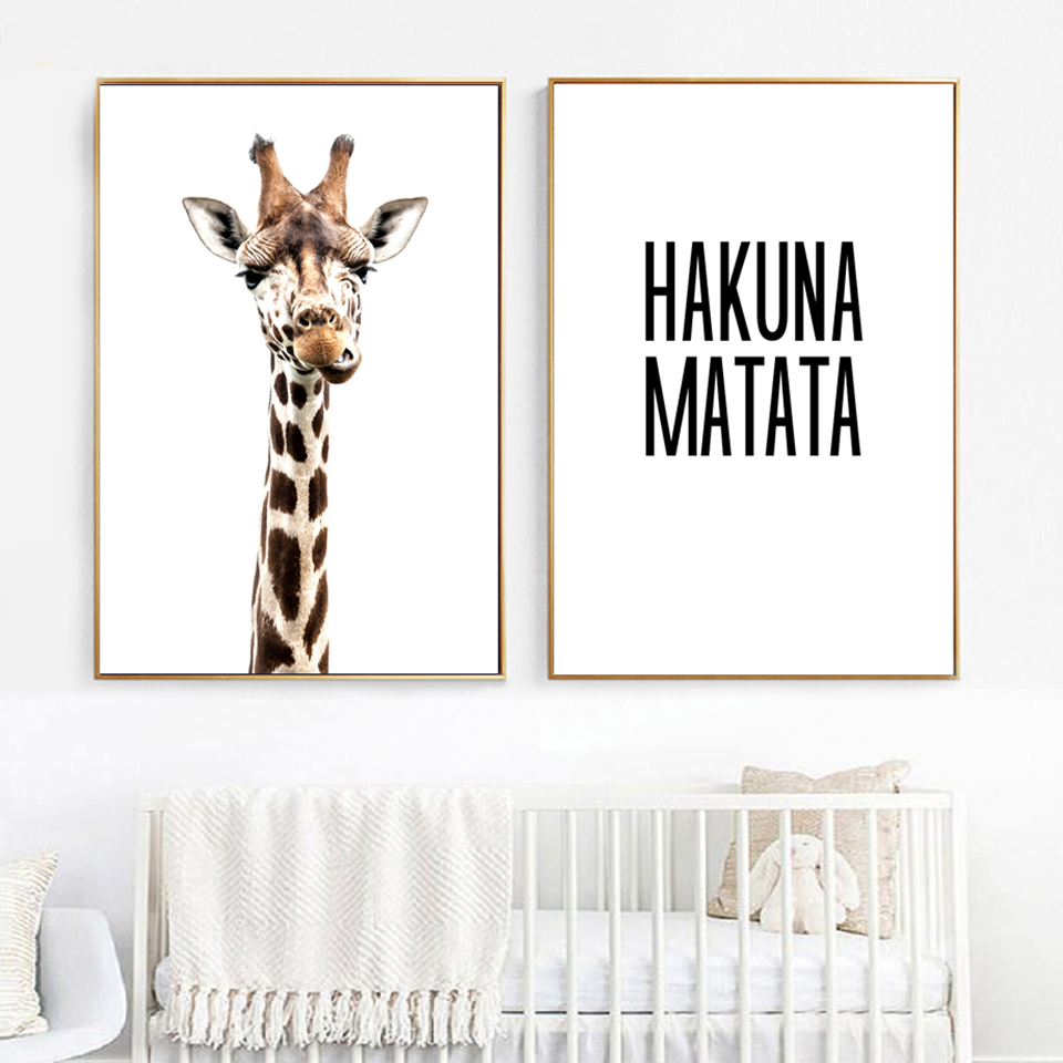 Nordic Poster Painting Pictures Wall Artwork Modular Canvas Animal Living-Room Giraffe