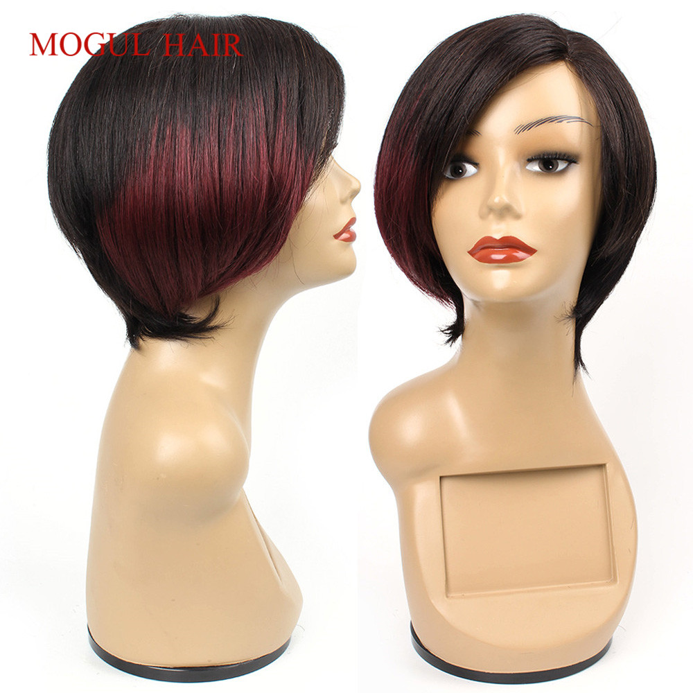 Mogul Hair Ombre Human Hair Wigs Brown Blonde Burgundy Side Part Long Lace Short Hair Style Straight Chinese Remy Human Hair