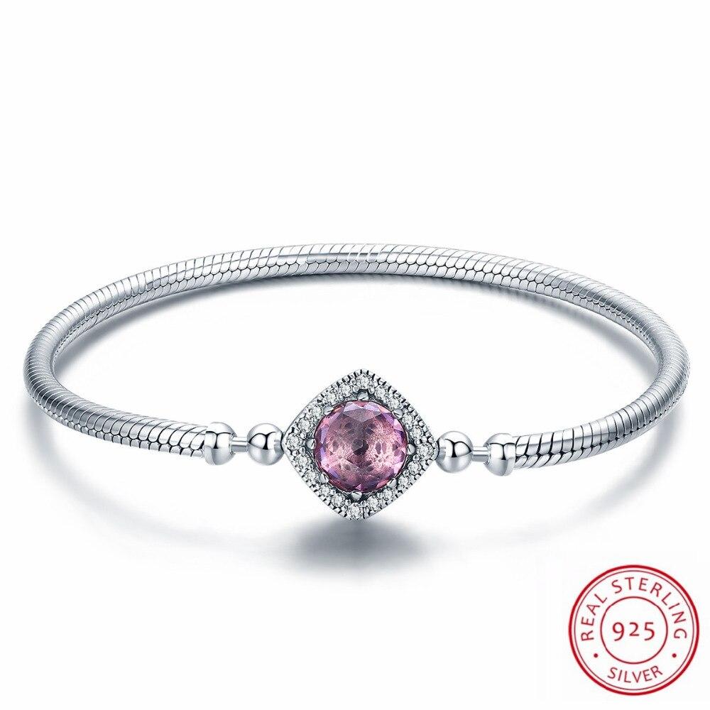 100% Authentic Sterling Silver Bracelet & Bangle New Brand Pink CZ Fit Original Women Luxury Wedding Jewelry Gifts цена