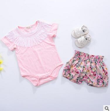 2018 Princess pink Romper Floral Jumpsuit Newborn Girls Baby Romper Tutu Dress Outfits