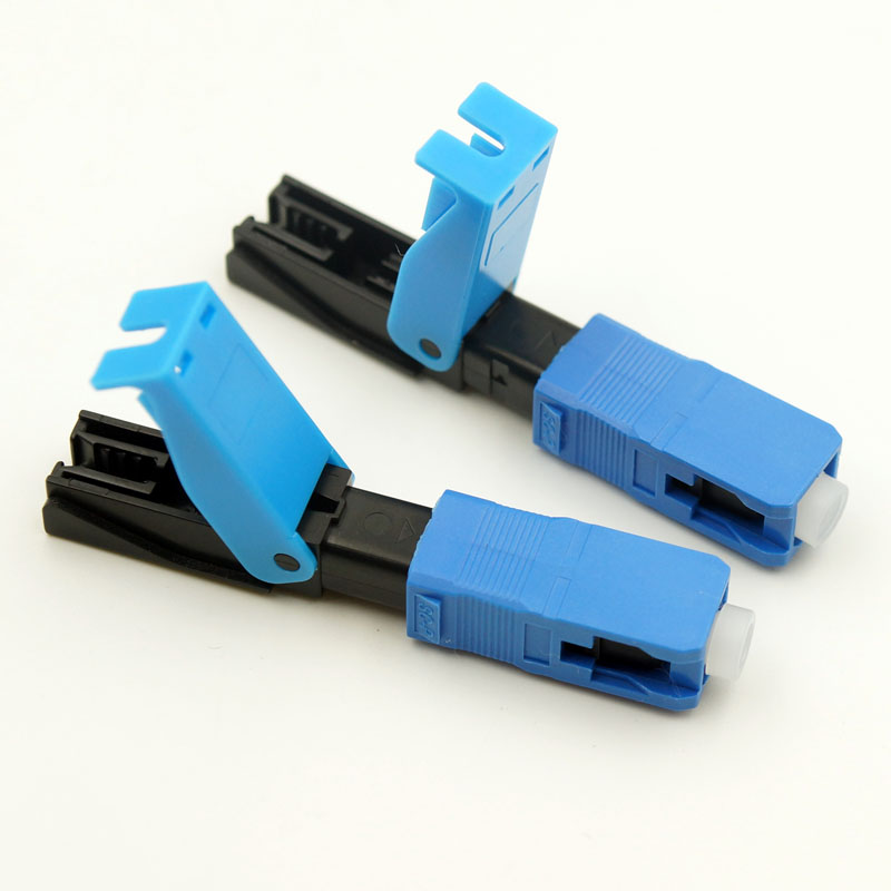 100PCS FTTH SC UPC Optical fiber covered wire quick connector Fiber Optic Fast Connector Free shipping
