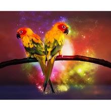 diamond painting Two parrots,diamond embroidery icons,diamond  rhinestone