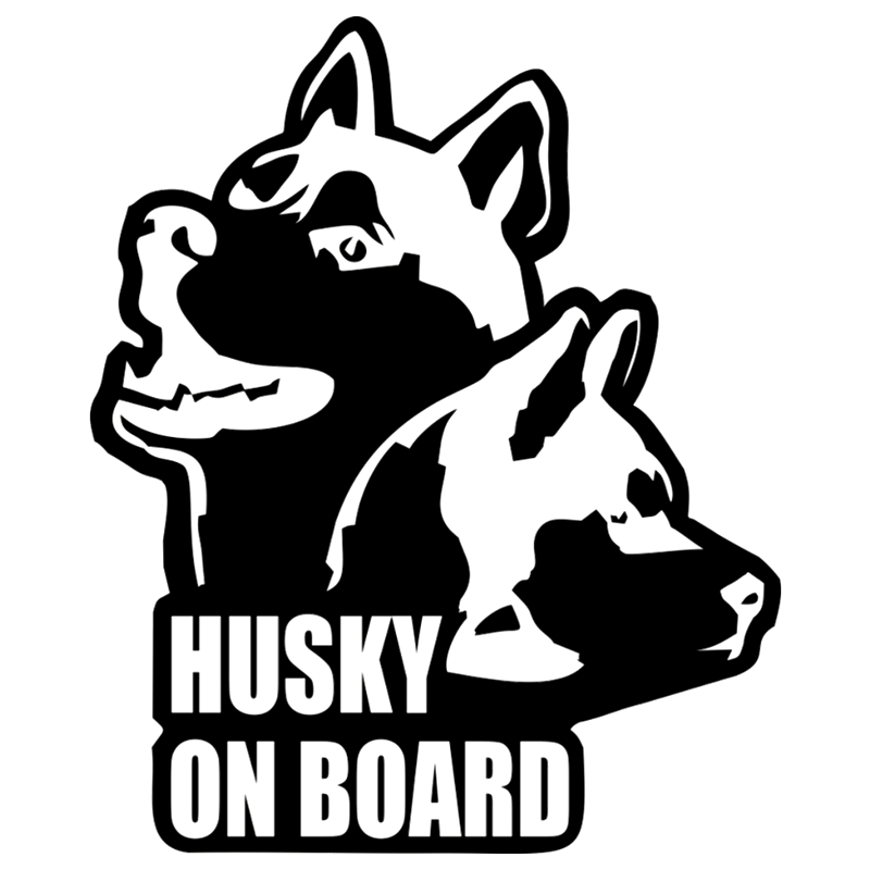 CK2508#15*18cm Husky on board funny car sticker vinyl decal silver/black auto stickers for bumper window decorations