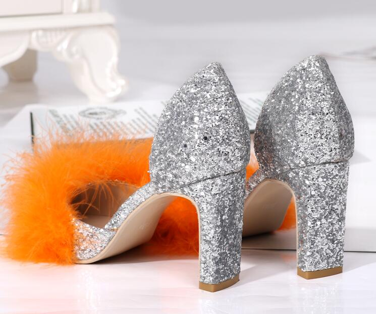 2ca964a0414e Elegant Orange Faux Fur Women Point Toe Pumps Bling Silver Glitter Ladies  Chunky Heel Party Shoes Slip On Dress Shoes Size 40-in Women s Pumps from Shoes  on ...