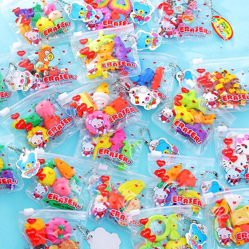1 Pack Cartoon Stationery Eraser Removable Combination Cute Style Eraser Student New School Supplies Children Gift