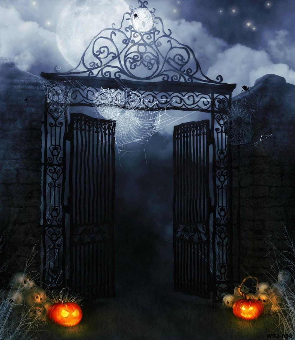 Kate Theme Halloween Black Iron Gate Photography Backdrops with Skeleton Photo Backgrounds Happy Pumpkin for Photo Studio 7 5ft halloween theme photography backgrounds full moon pumpkin black raven haunted house photo backgrounds for studio props