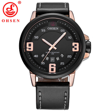 OHSEN Male Analog Quartz Watch Men Auto Date Fashion Casual Business Watches Man Leather Wristwatches Relogio Masculino TX2908 цены