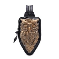 Women Hop Trend Backpack Cool Black PU Leather 3D Emboss Owl Backpack Female Hot Sale Women