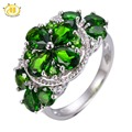 Hutang 4.492CTW Natural Chrome Diopside Flower Ring Solid 925 Sterling Silver Women's Vivid Green Gemstone Jewelry 2017 New