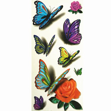 3D Lifelike Pretty Temporary Tattoo 19X9CM Butterfly With Rose