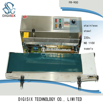 FR-900 continuous band sealer/ film sealing machine+stainless steel automatic continuous plastic bag sealing machine with coding printer fr 900