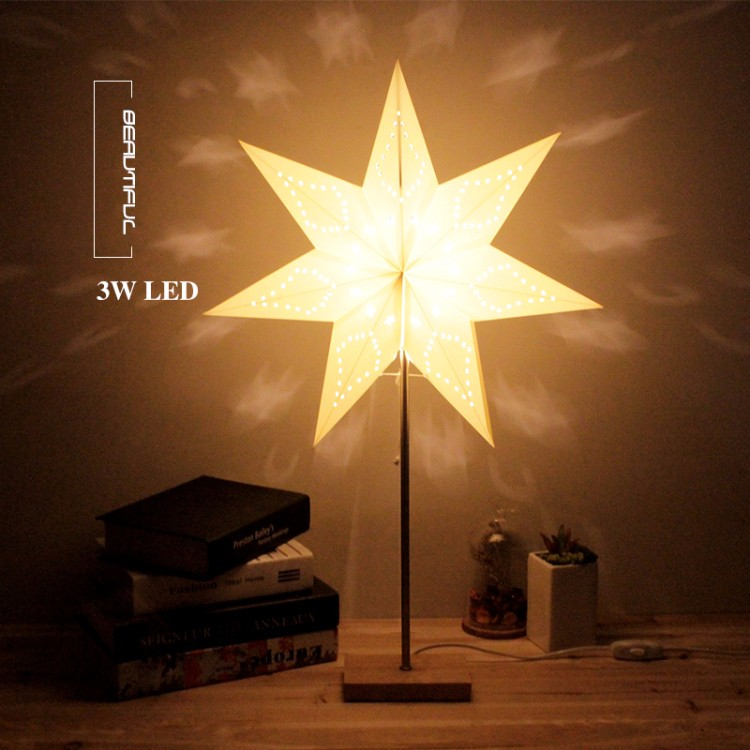 Led Desk Table Lamp Paper Star Wood