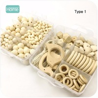 MamimamiHome DIY Jewelry Combination Package Crochet Beads Blending Natural Round Geometry Wooden Beads Drawing Toys