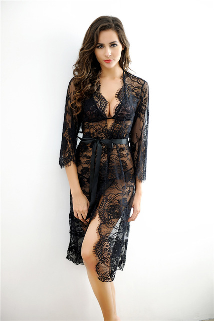 Women Lace Patchwork Seepwear 2016 Women Lace Maxi Long Bathwear Sexy Lingerie New Style Sexy Lace Robe With Bra And Briefs