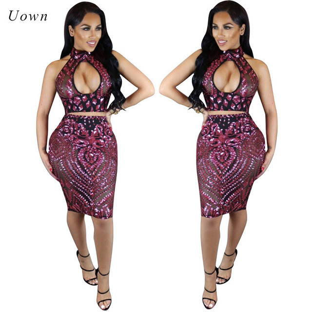 Backless Halter Sequin Crop Top And Skirt Set Women Two Piece Sets