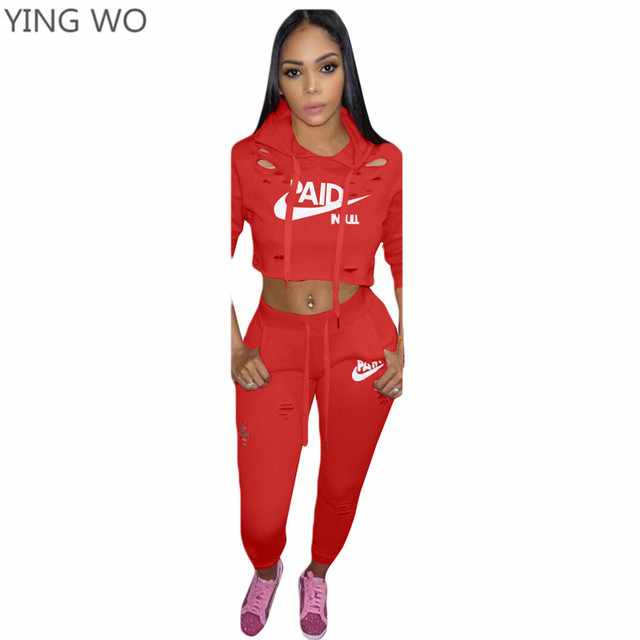 c62cc285236 Red/Black/Pink PAID Letter Printed Woman Set Two Pieces Hollow Out Details  Long