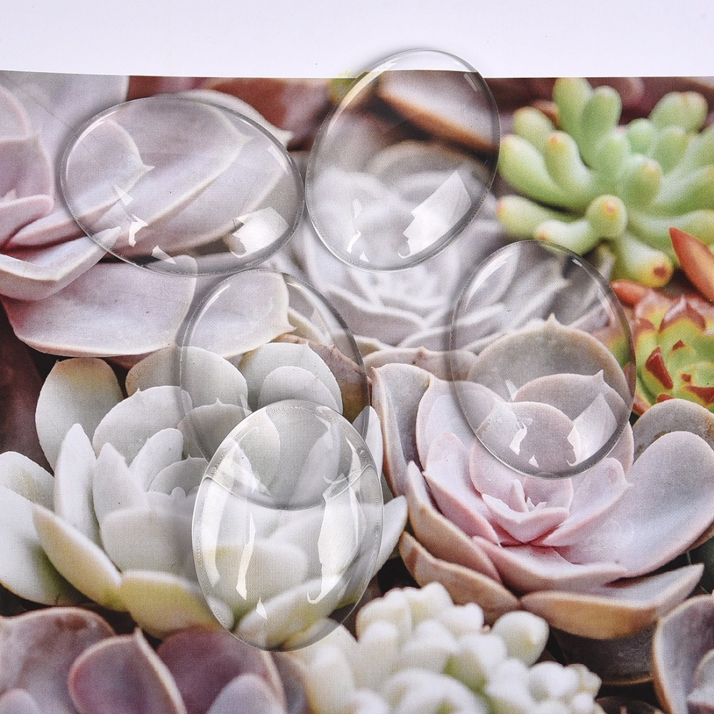 30x40mm Oval Cabochons Transparent Glass Clear Flat Back (2)
