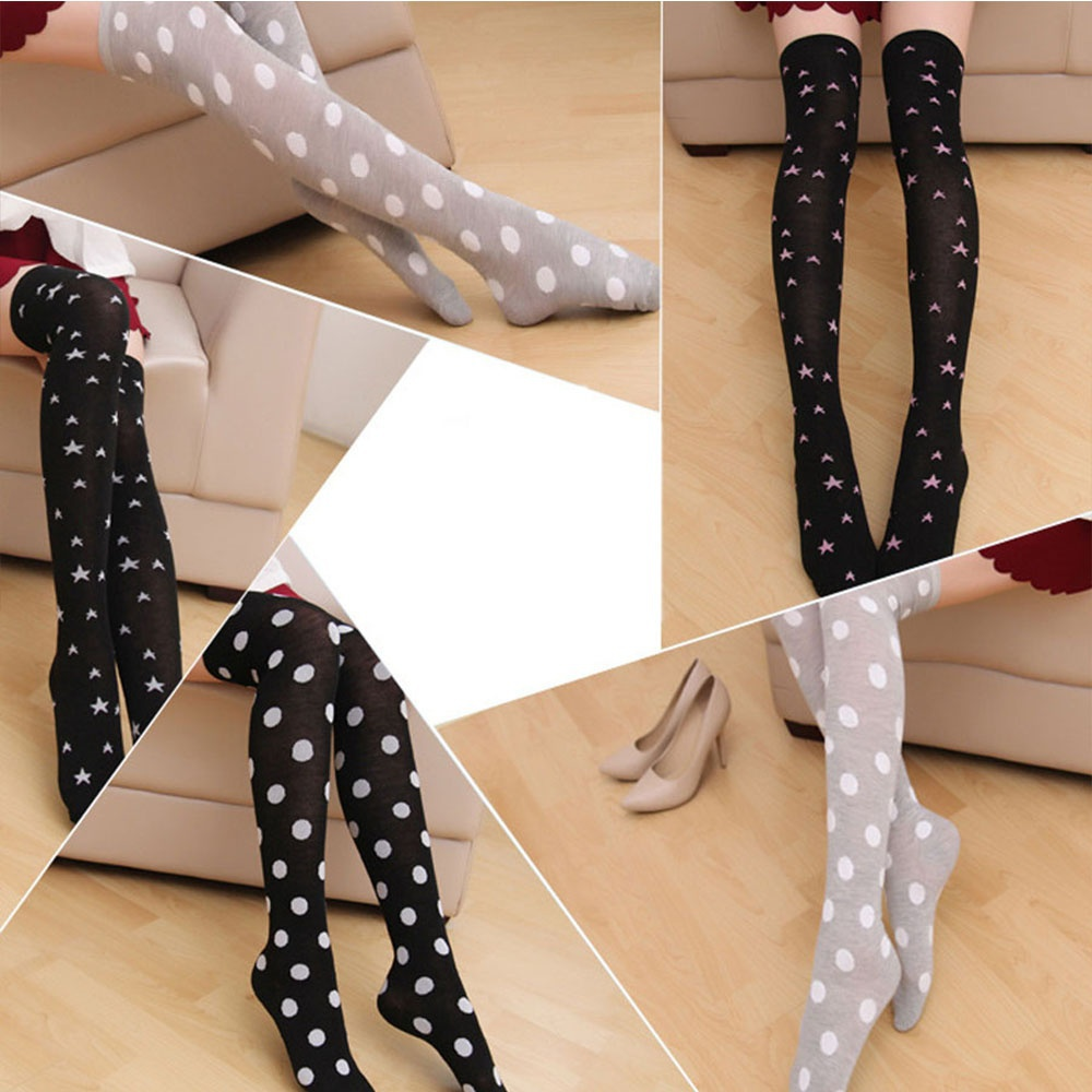 ef4976ed5ed10 Soft Dot Star Style Cotton Women Ladies 1 Pair Hot Sexy Thigh High  Stockings Over The Knee Socks-in Stockings from Underwear & Sleepwears on  Aliexpress.com ...