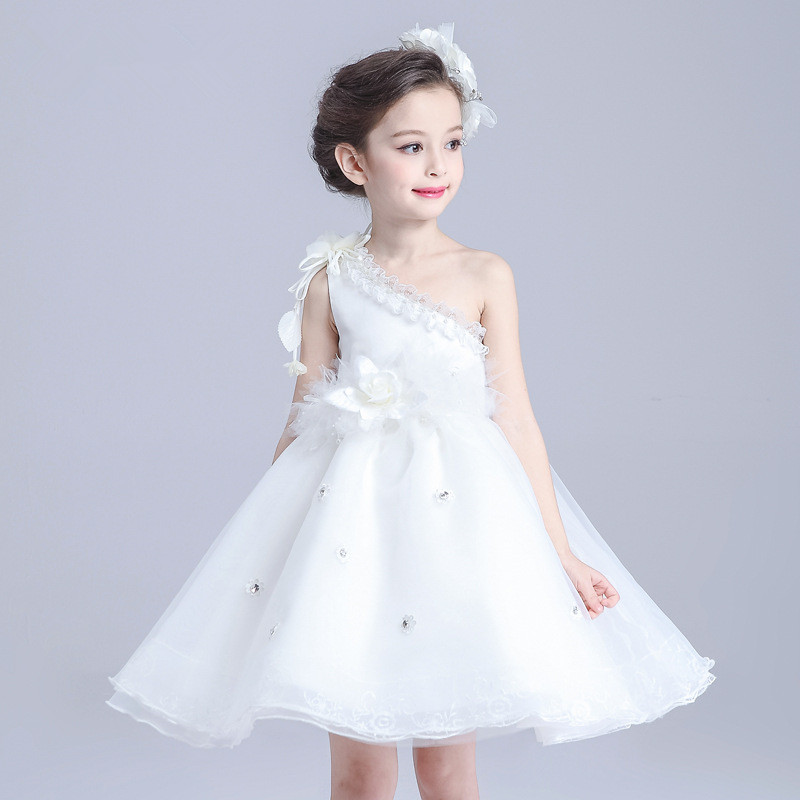 Buy white shoulderless girl dress beading for 10 year old dresses for weddings