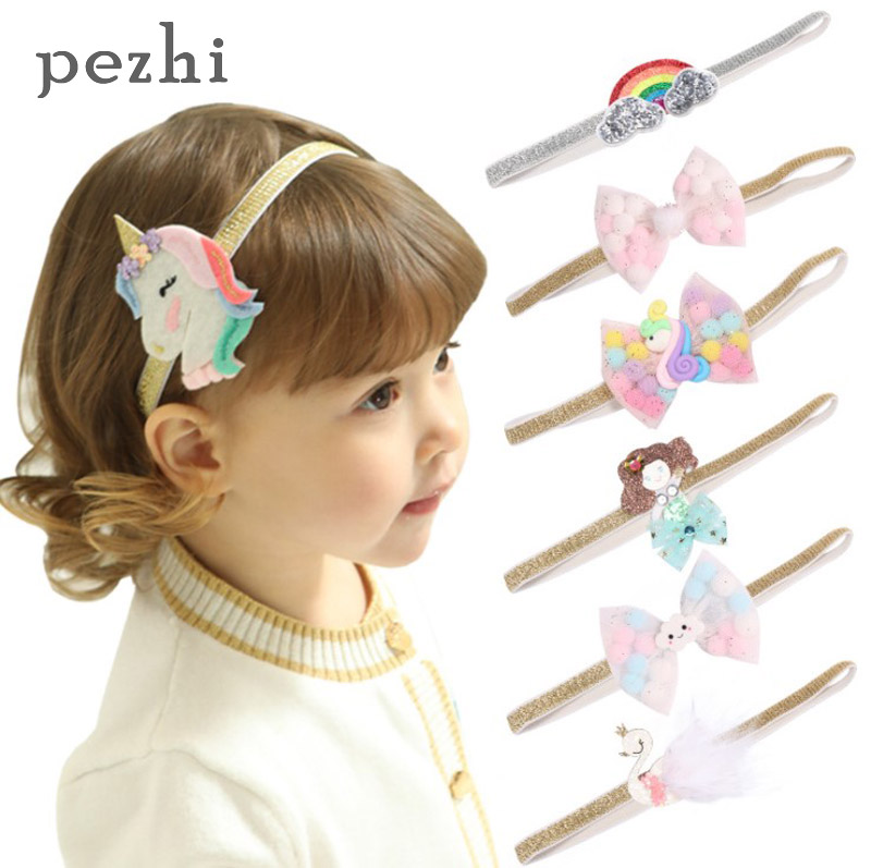 New Fashion ins Kids Girl Headband Unicorn Rainbow Hair Band Headband Hairband Hair Apparel Accessories Kids Headpiece Headwear