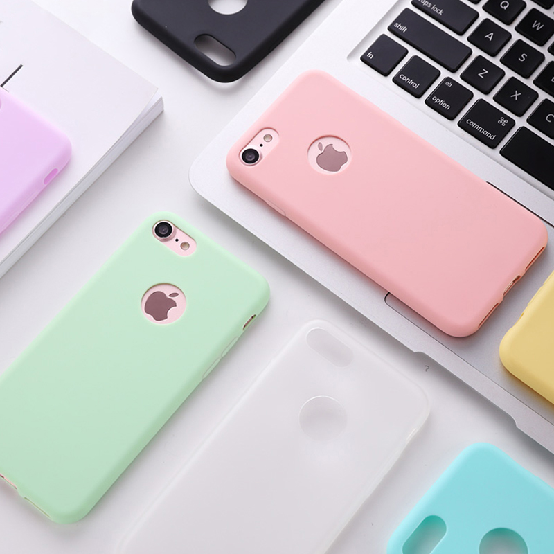 Original Soft Silicone <font><b>Case</b></font> for iPhone 8 7 6 6S Plus 5 5S X XR XS Max 8Plus 7Plus Phone <font><b>Cases</b></font> Cute Candy Anti-knock Rubber Cover image