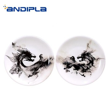 8/10 Inch Chinese Style Hanging Wall Plate Classical Ink Pattern Ceramic Porcelain Vintage Crafts Living Room Lucky Decoration