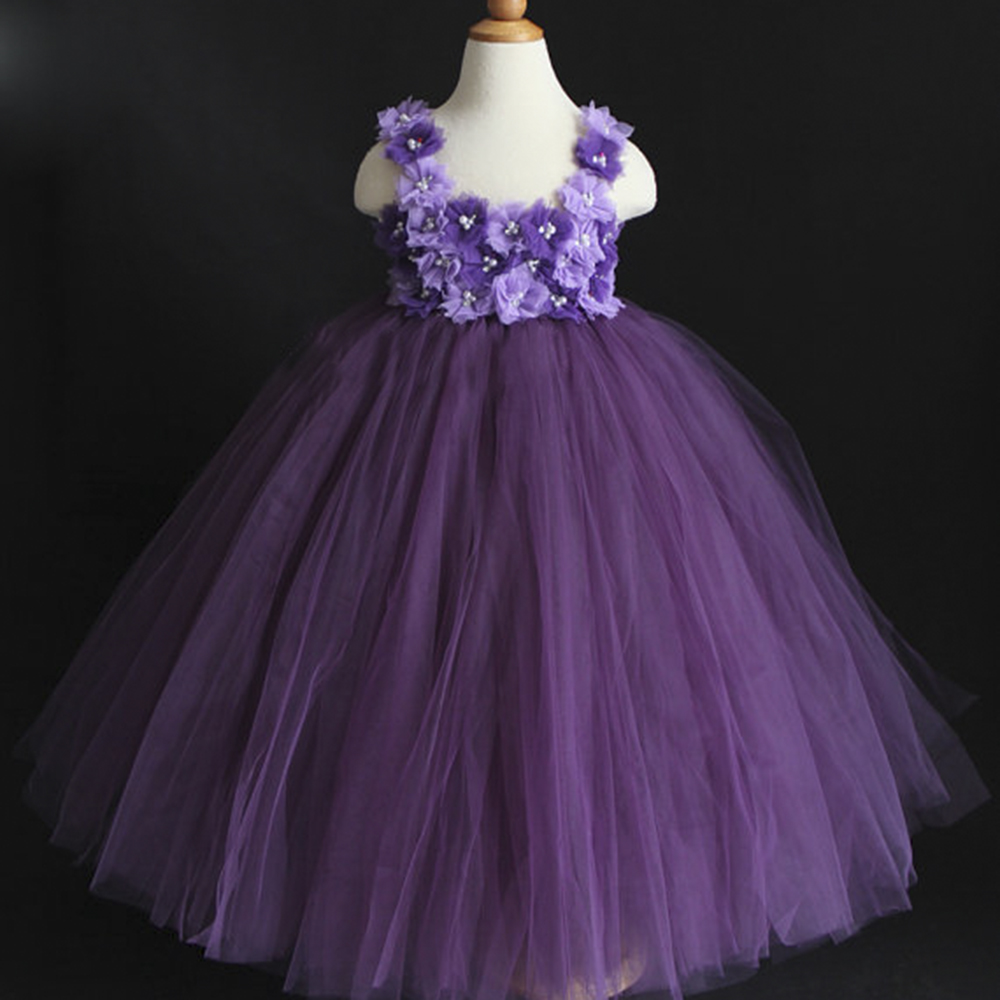 2017 New Design Purple Violet Mixed Flower Girl Tutu Dress Birthday Party Princess Baby Girl Wedding Dresses Clothing