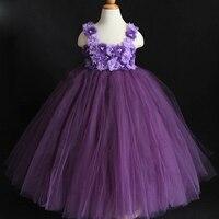2017 Nuovo Design Viola Viola Misto Flower Girl Dress Tutu Festa di Compleanno Della Principessa Baby Girl Abiti Da Sposa Abbigliamento