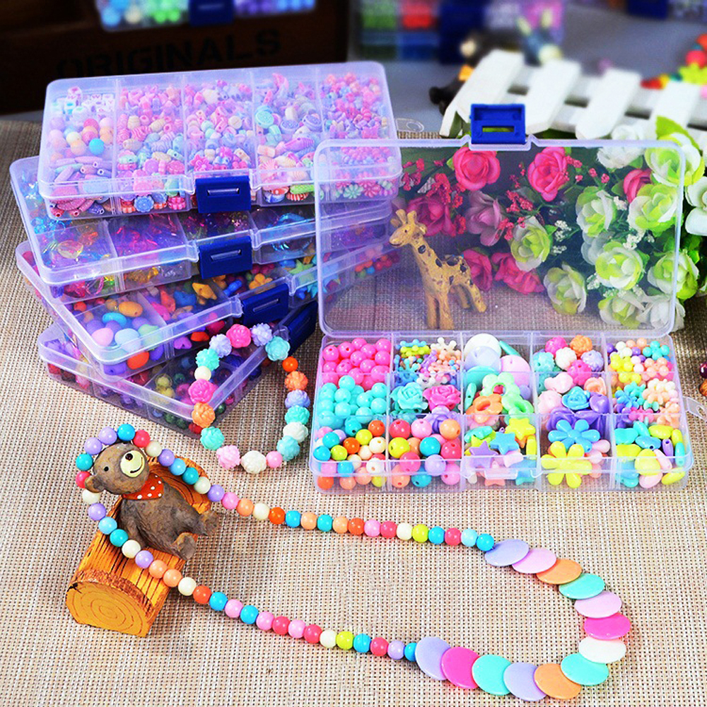 DIY Handmade Beads Toys With Accessory Set 15Grids Colorful Children Creative Beads Set Early Educational Toys For Girls Gift