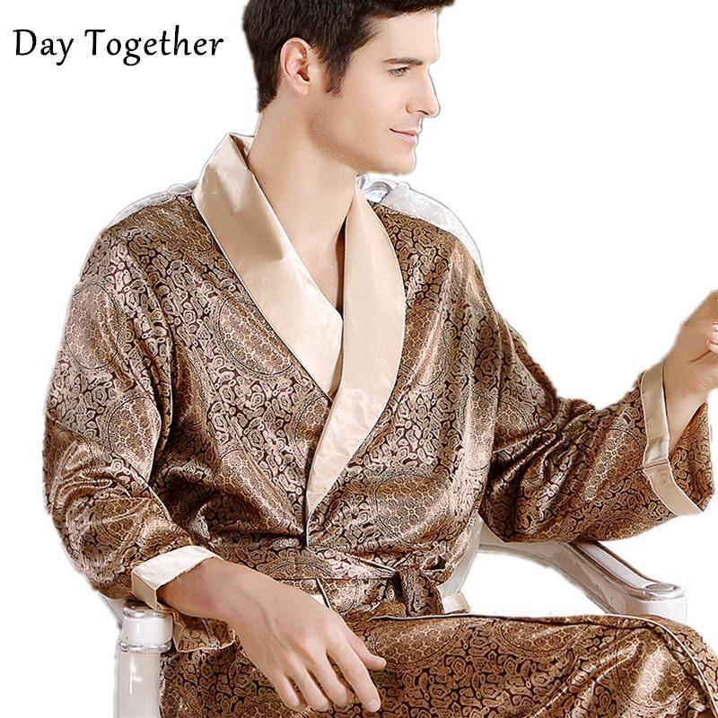 Men Silk Bathrobe Big Size 5XL Satin Kimono Gown Home Clothes Man Printed Geometric Robes V-neck Sleepwear Nightgown