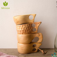 Caneca de madeira portátil chinesa  xícaras de madeira para café  chá  leite  caneca para beber água  feito à mão  suco  limão  presente
