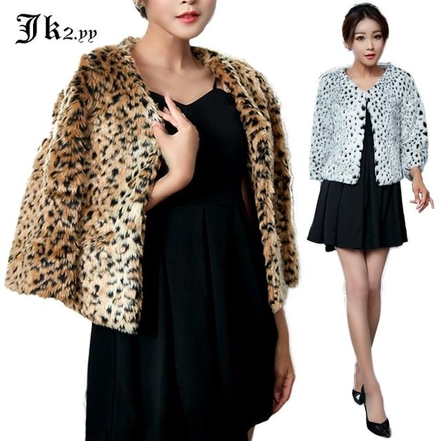 9524 mujeres salvaje leopardo estampado piel chaqueta Otoño Invierno ...