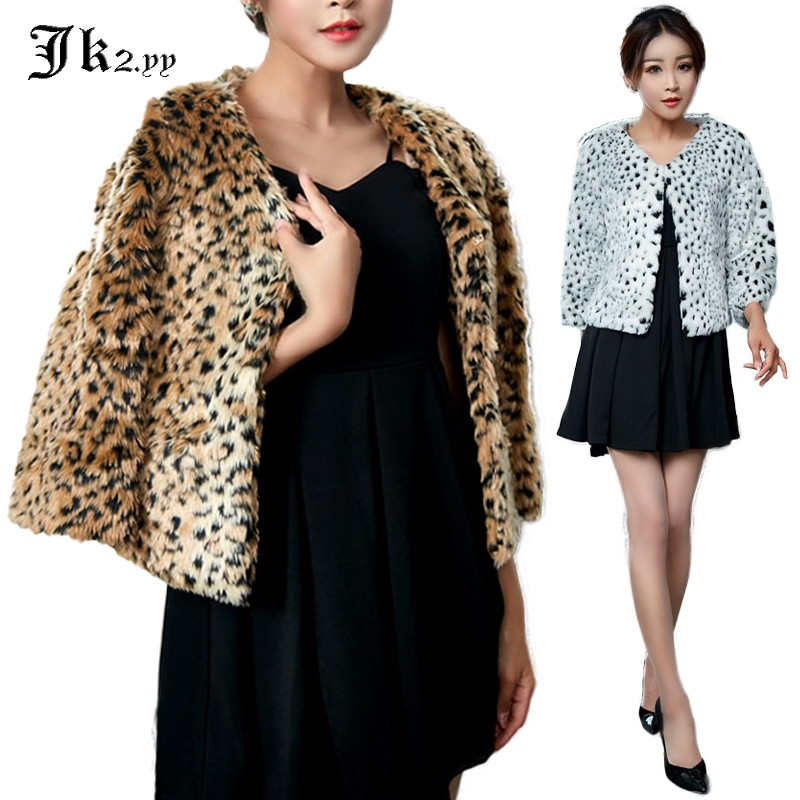 US $28.8 15% OFF|M XXXL Frauen Wilden Leopardenmuster Pelz Jacke Herbst Winter Drei Viertel Kurze Mantel Plus Size Fashion Tops 9524 in Kunstpelz aus