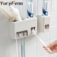 YuryFvna Automatic Toothpaste Dispenser Sticky Suction Pad Wall Mounted Toothbrush Holder Squeezer 5 Brush Holder Bathroom