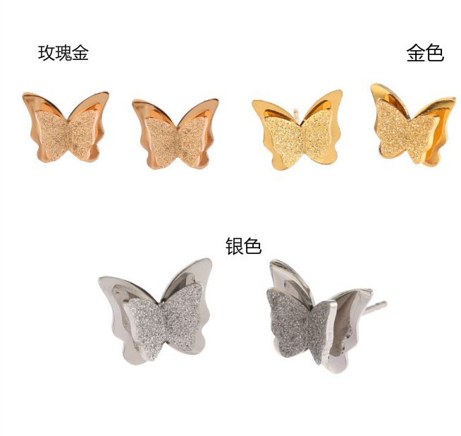 2018 New Butterfly Earrings Rose Gold Color Stainless Steel Stud Earrings for Women Child Frosted Butterfly Ear Studs