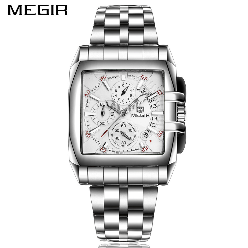 <font><b>MEGIR</b></font> Male Date Chronograph Watches Men Luxury Brand Stainless Steel Business Watch Waterproof Quartz Military Sports Watch image