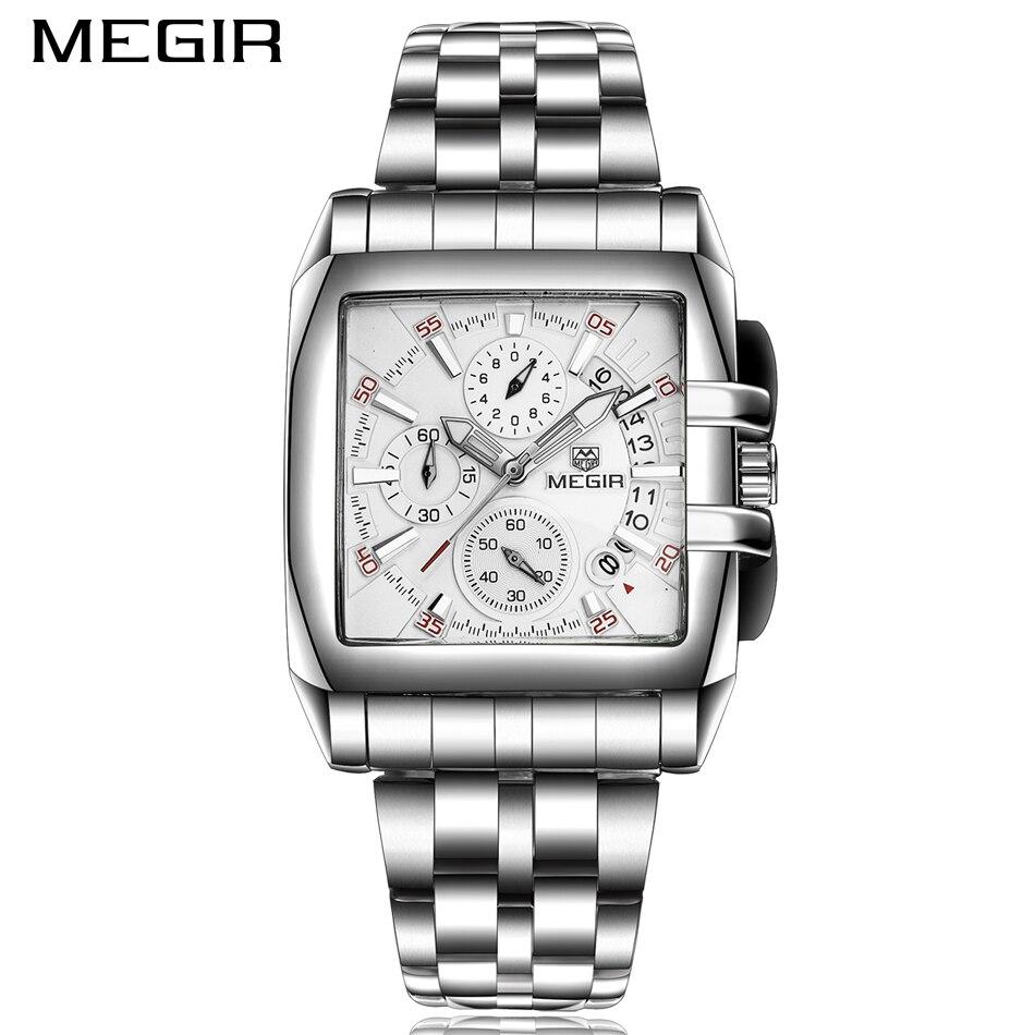 MEGIR Male Date Chronograph Watches Men Luxury Brand Stainless Steel Business Watch Waterproof Quartz Military Sports Watch все цены