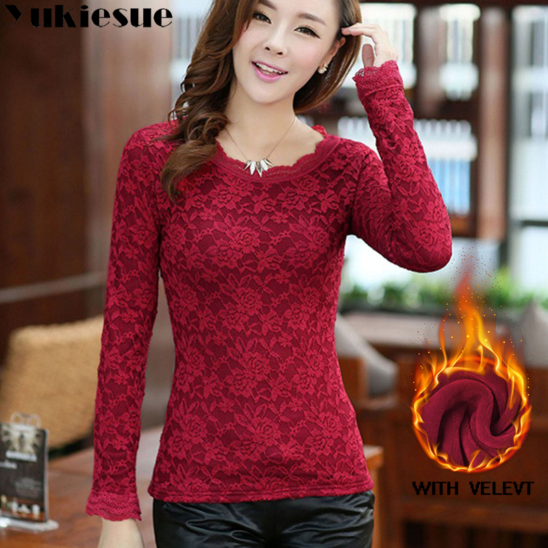 sexy white lace   blouse     shirt   Women tops elegant winter warm fleece   blouse   Summer tops female   blouse   long sleeve blusas Plus size