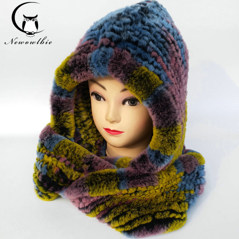 Winter Warm Hooded Scarf Caps Full Hood Cap Warm Thermal Knitted Hats with Ears