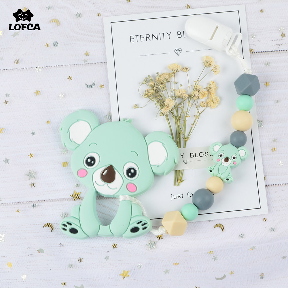 Silicone Koala Infant Baby Teether Pacifier Chain Soother Chewable Teething Toy