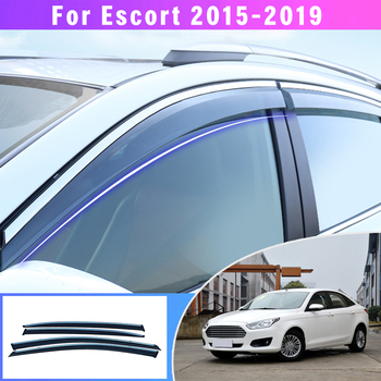 Car Smoke car window visors For Ford ESCORT car sun Rain Guard Wind Deflectors 2015 2016 2017 2018 2019 4PCS