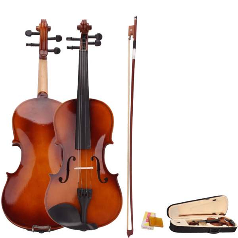 4/4 Full Size Natural Acoustic Violin Fiddle With Case Bow Rosin Basewood Body 4 Stringed Instrument For Beginner